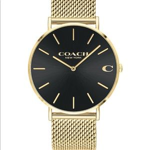 Coach men's Charles watch gold with black face